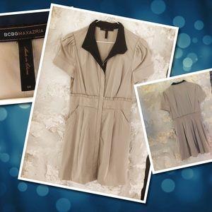 BCBG Max Azria Beige and Navy Dress